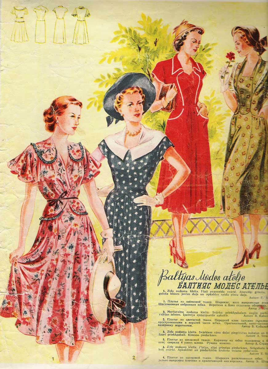Выкройка платья 50 годов с цветочным